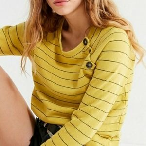 UO Truly Madly Deeply Yellow Striped Sweatshirt